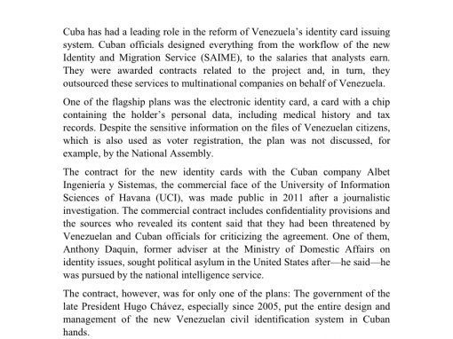 Over One Billion Dollars in Identity Plans with Cuba