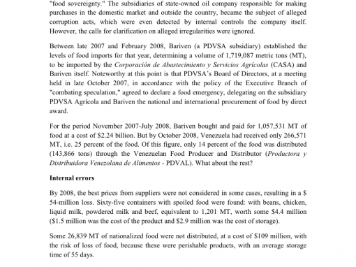 The PDVAL Rotten Food Scandal